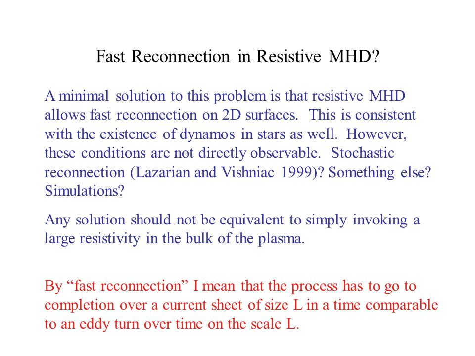 Fast Reconnection in Resistive MHD.