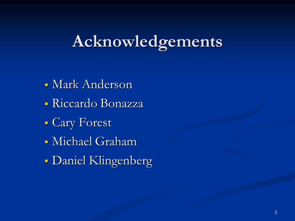 Acknowledgements Mark Anderson Mark Anderson Riccardo Bonazza Riccardo Bonazza Cary Forest Cary Forest Michael Graham Michael Graham Daniel Klingenber