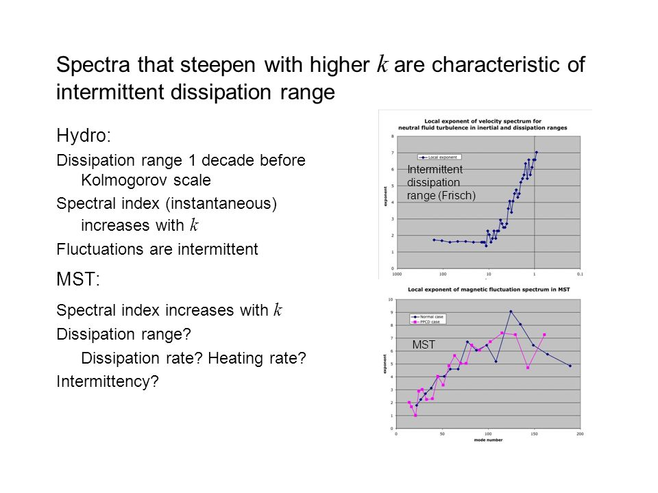 Spectra that steepen with higher k are characteristic of intermittent dissipation range Hydro: Dissipation range 1 decade before Kolmogorov scale Spectral index (instantaneous) increases with k Fluctuations are intermittent MST: Spectral index increases with k Dissipation range.