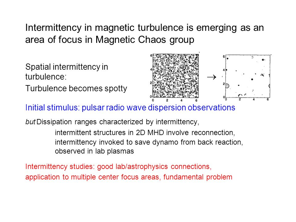 Intermittency in magnetic turbulence is emerging as an area of focus in Magnetic Chaos group Spatial intermittency in turbulence: Turbulence becomes s