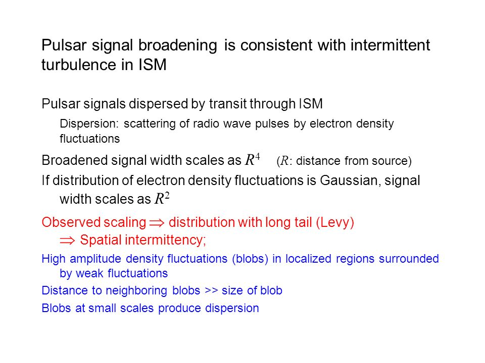 Pulsar signal broadening is consistent with intermittent turbulence in ISM Pulsar signals dispersed by transit through ISM Dispersion: scattering of r