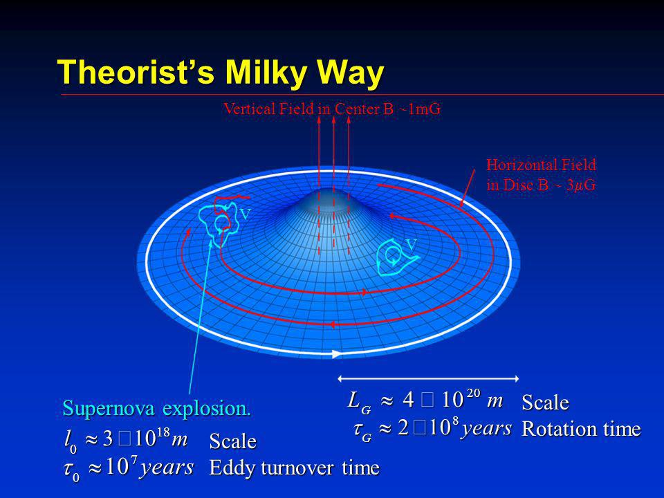 Theorists Milky Way Vertical Field in Center B ~1mG Horizontal Field in Disc B ~ 3 G Supernova explosion.