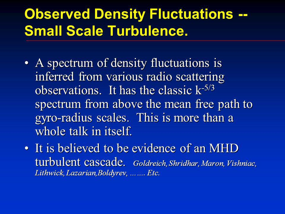 Observed Density Fluctuations -- Small Scale Turbulence.