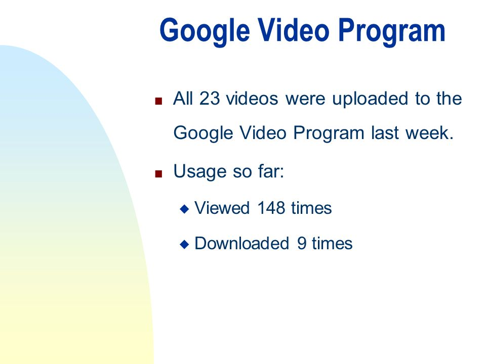 Google Video Program n All 23 videos were uploaded to the Google Video Program last week.