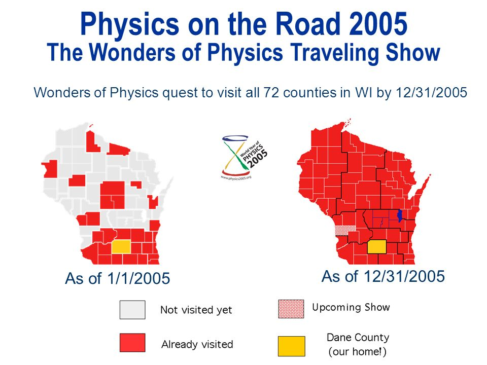 Physics on the Road 2005 The Wonders of Physics Traveling Show Wonders of Physics quest to visit all 72 counties in WI by 12/31/2005 As of 1/1/2005 As of 12/31/2005