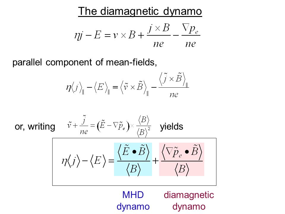 The diamagnetic dynamo parallel component of mean-fields, or, writing yields MHD dynamo diamagnetic dynamo
