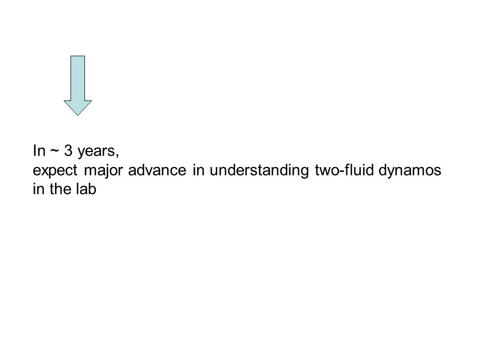 In ~ 3 years, expect major advance in understanding two-fluid dynamos in the lab