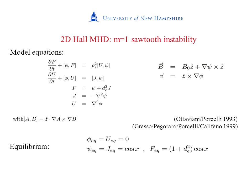 Equilibrium: Model equations: (Ottaviani/Porcelli 1993) (Grasso/Pegoraro/Porcelli/Califano 1999) 2D Hall MHD: m=1 sawtooth instability