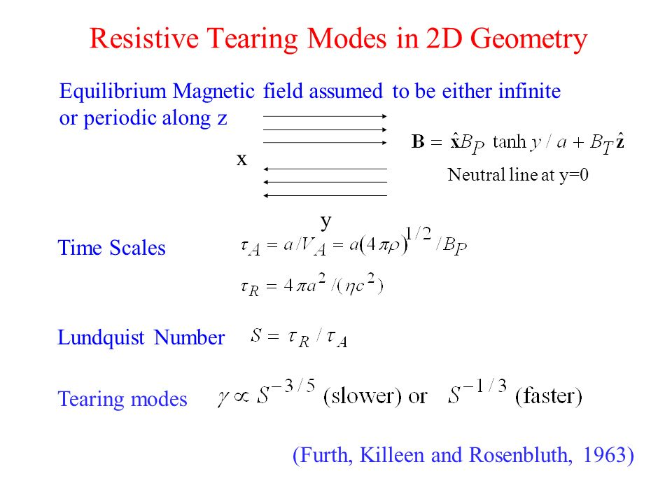 Resistive Tearing Modes in 2D Geometry Equilibrium Magnetic field assumed to be either infinite or periodic along z Time Scales Lundquist Number Teari