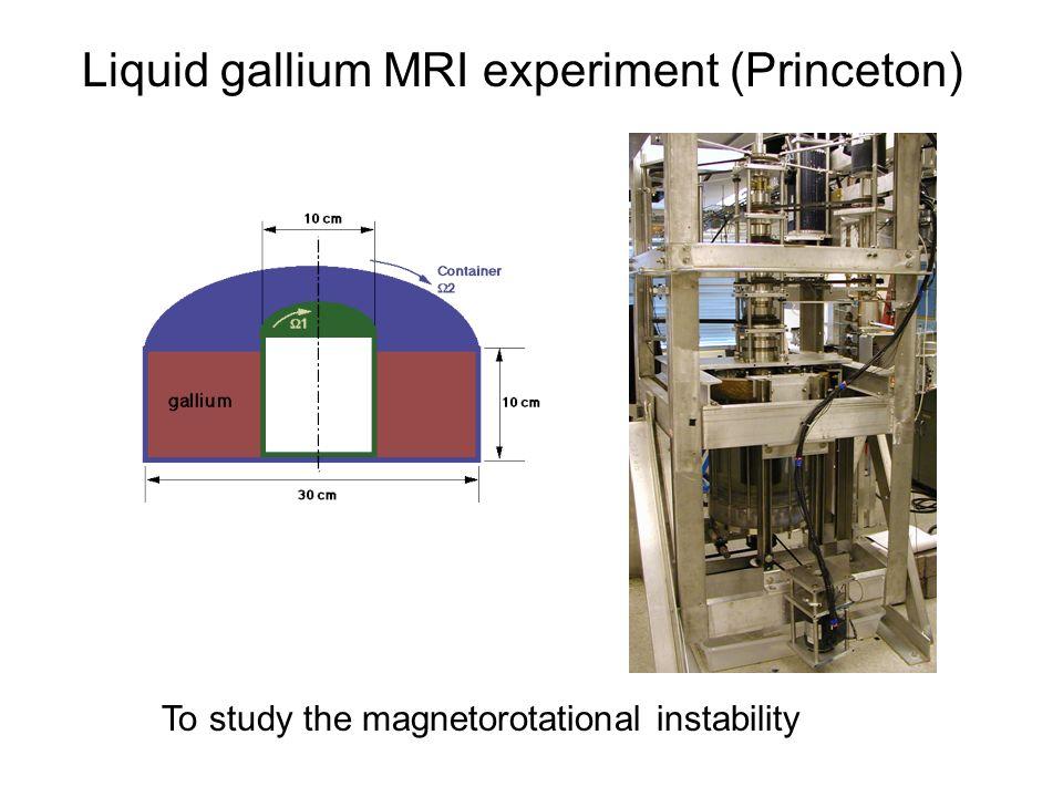 Liquid gallium MRI experiment (Princeton) To study the magnetorotational instability