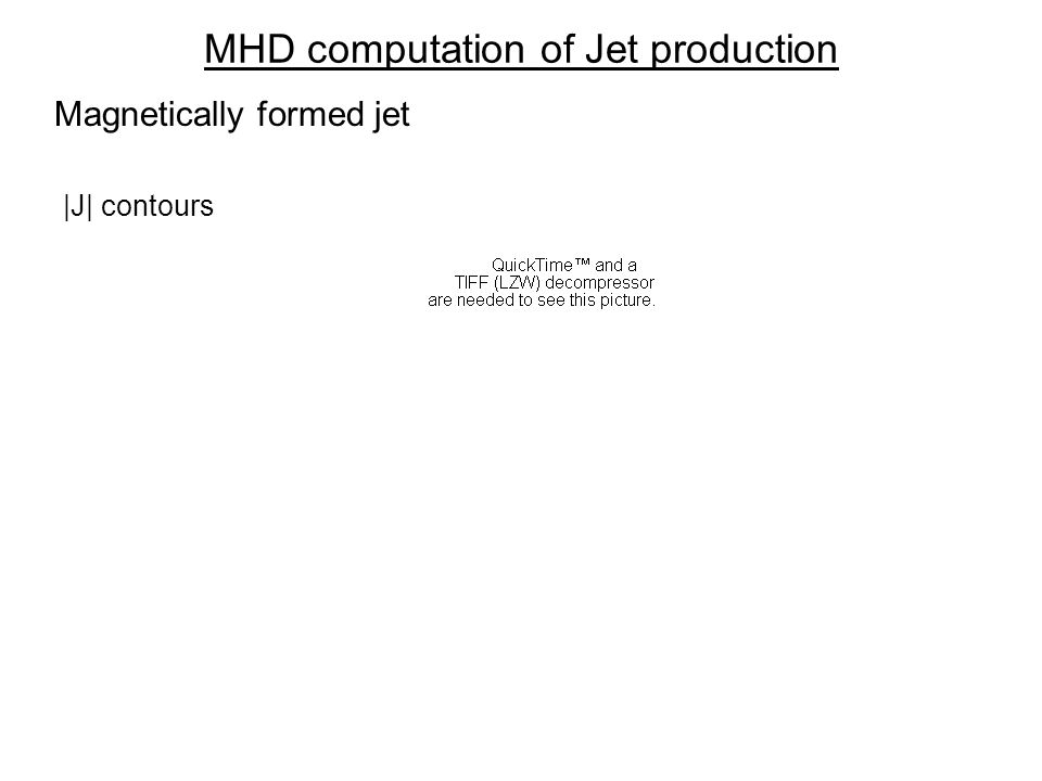 MHD computation of Jet production |J| contours Magnetically formed jet