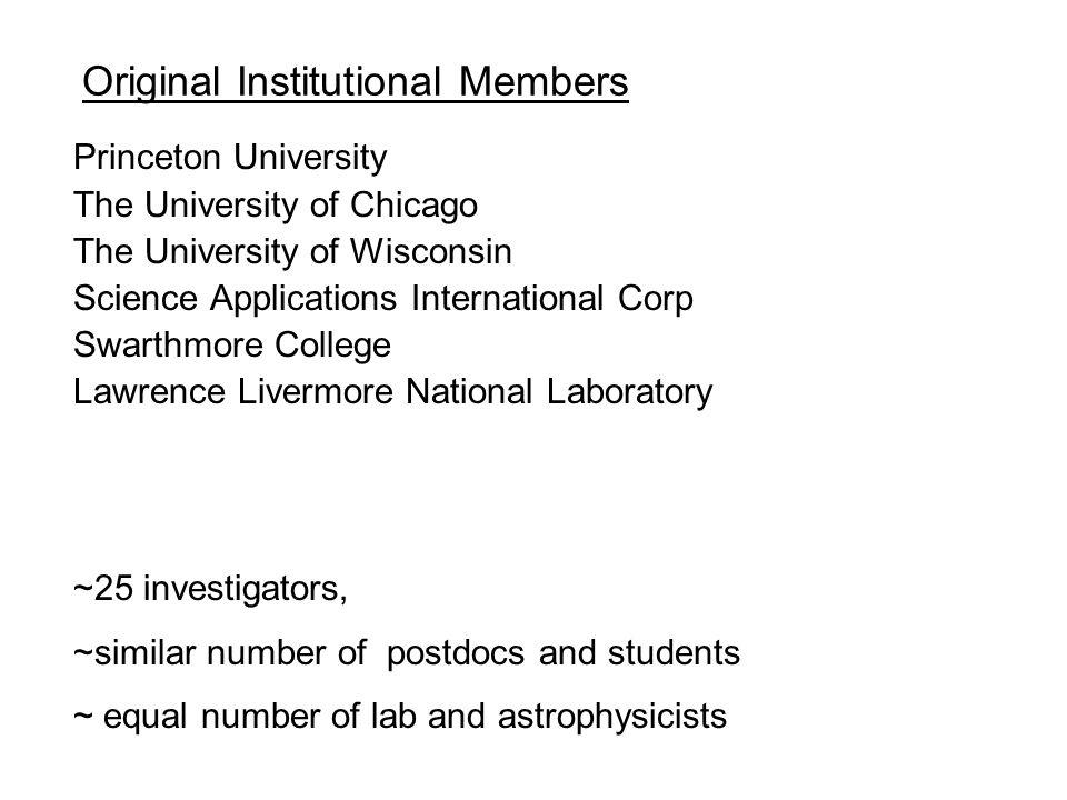 Original Institutional Members Princeton University The University of Chicago The University of Wisconsin Science Applications International Corp Swar