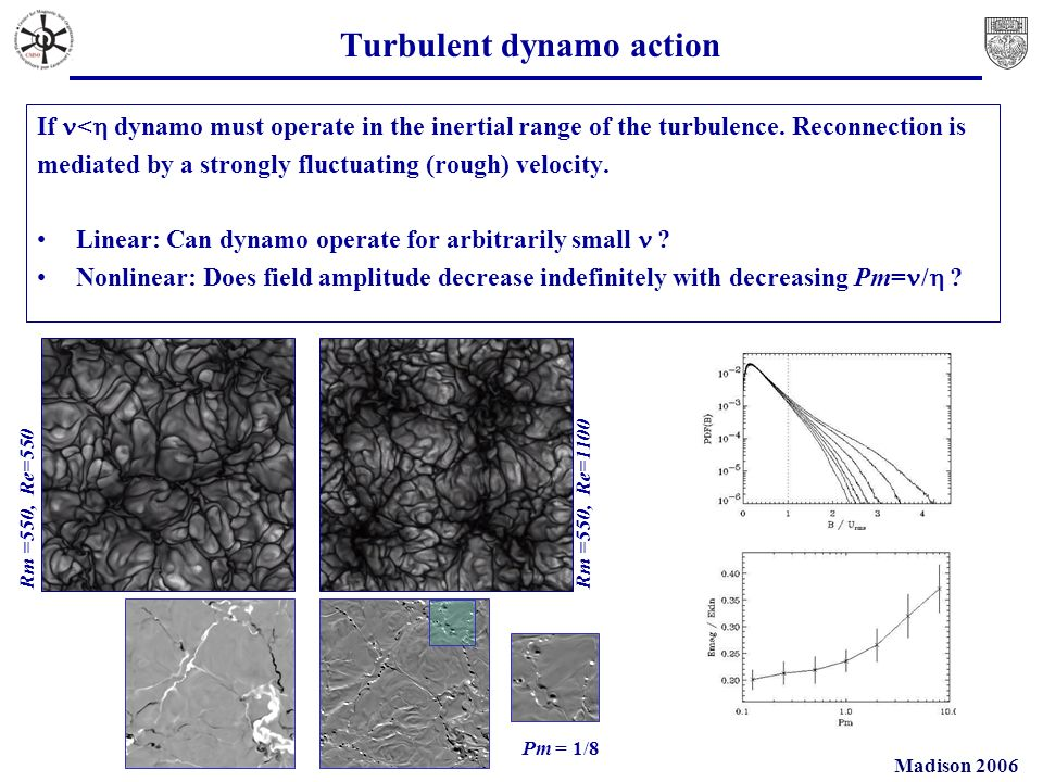 Madison 2006 Turbulent dynamo action If < dynamo must operate in the inertial range of the turbulence.