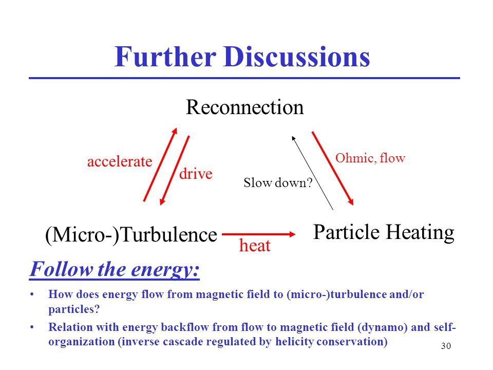 30 Further Discussions How does energy flow from magnetic field to (micro-)turbulence and/or particles.