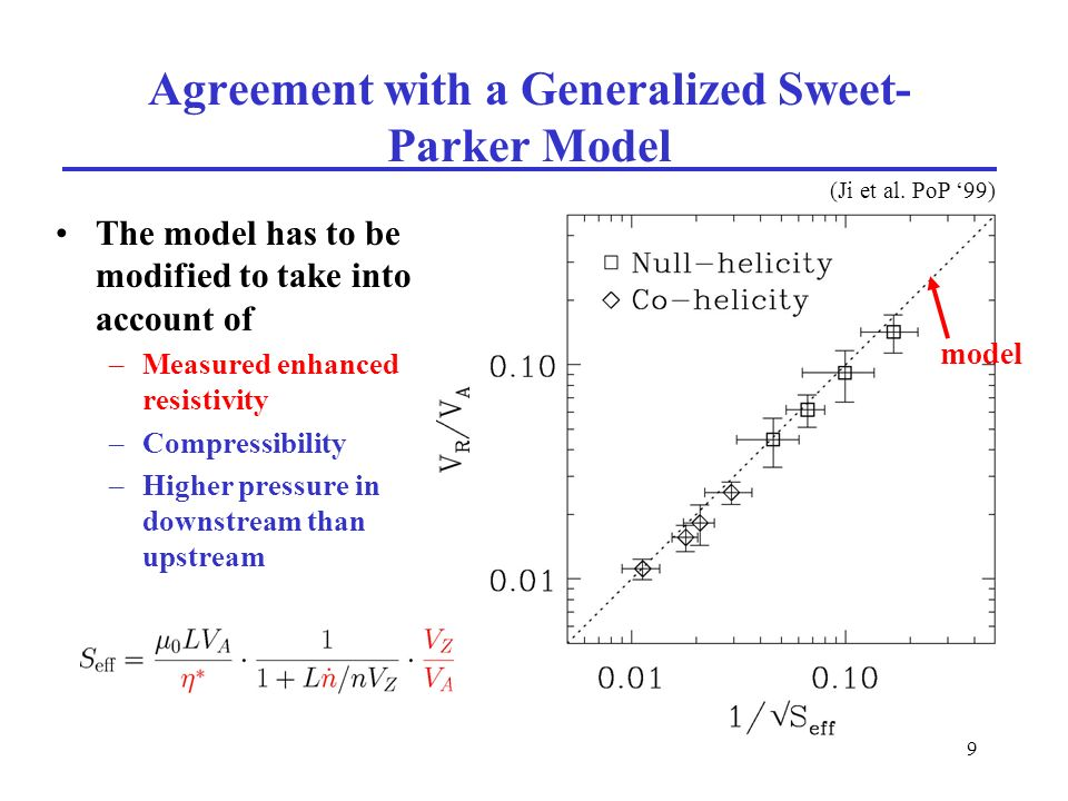 9 Agreement with a Generalized Sweet- Parker Model The model has to be modified to take into account of –Measured enhanced resistivity –Compressibility –Higher pressure in downstream than upstream (Ji et al.