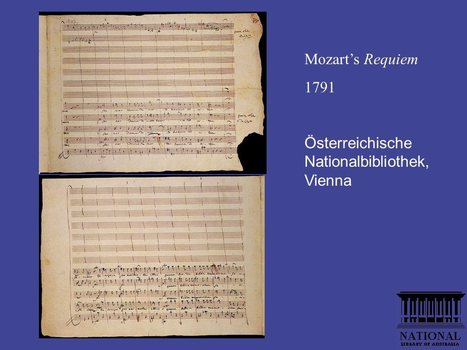 Mozarts Requiem 1791 Österreichische Nationalbibliothek, Vienna