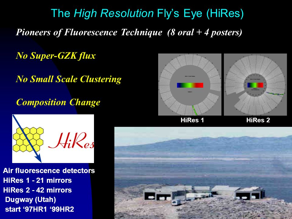 The High Resolution Flys Eye (HiRes) Air fluorescence detectors HiRes 1 - 21 mirrors HiRes 2 - 42 mirrors Dugway (Utah) start 97HR1 99HR2 Pioneers of