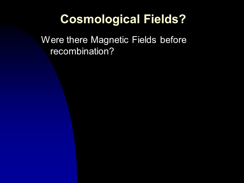 Cosmological Fields? Were there Magnetic Fields before recombination?