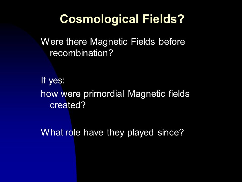 Cosmological Fields? Were there Magnetic Fields before recombination? If yes: how were primordial Magnetic fields created? What role have they played