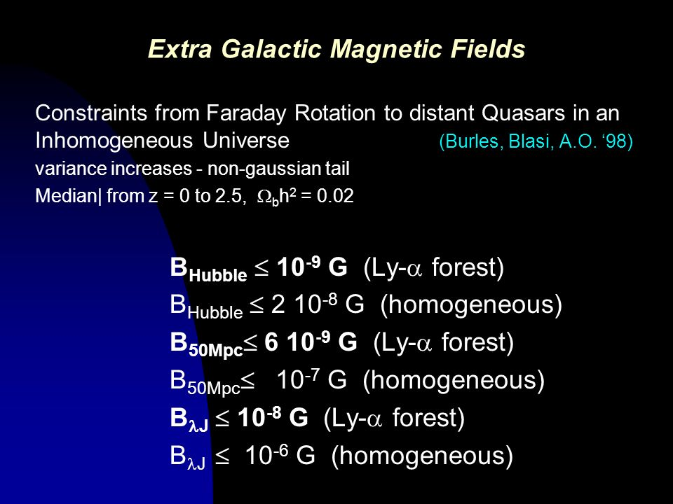 Extra Galactic Magnetic Fields Constraints from Faraday Rotation to distant Quasars in an Inhomogeneous Universe (Burles, Blasi, A.O. 98) variance inc