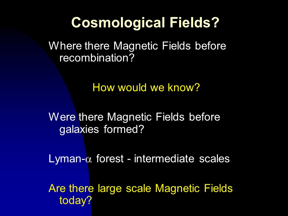 Cosmological Fields? Where there Magnetic Fields before recombination? How would we know? Were there Magnetic Fields before galaxies formed? Lyman- fo