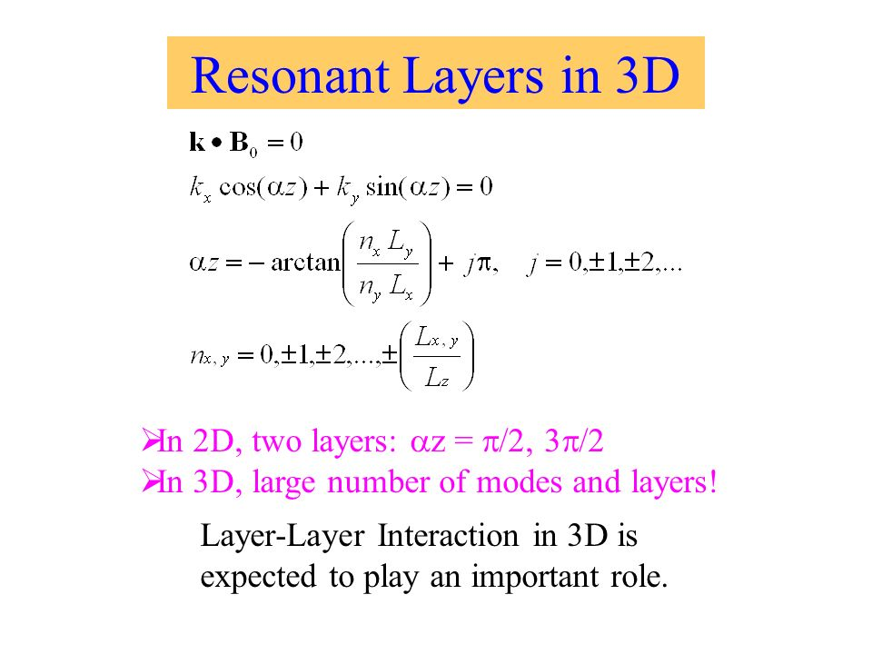 Resonant Layers in 3D In 2D, two layers: z = /2, 3 /2 In 3D, large number of modes and layers.