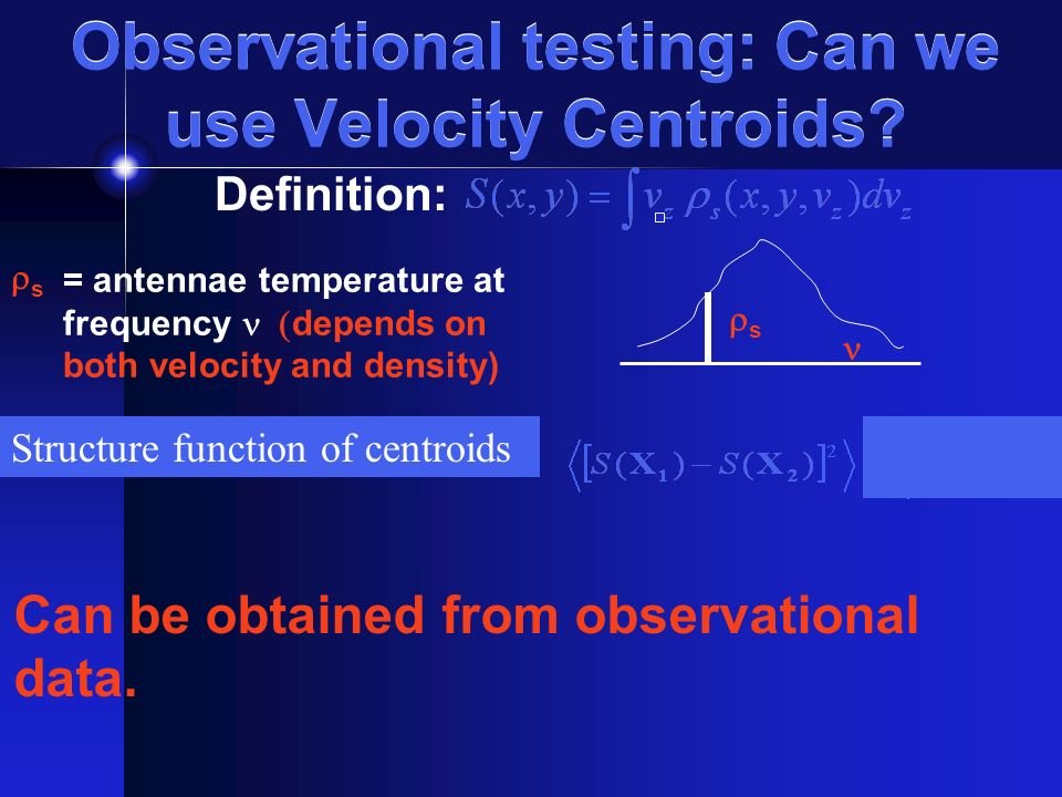 Observational testing: Can we use Velocity Centroids.