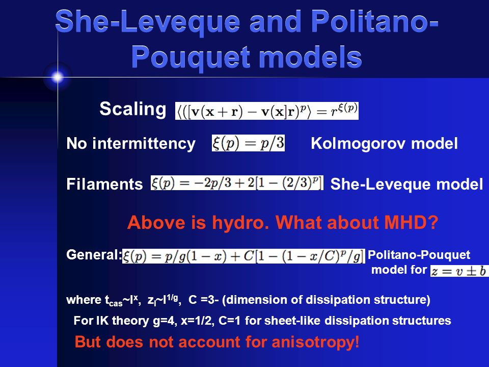 She-Leveque and Politano- Pouquet models Scaling No intermittencyKolmogorov model FilamentsShe-Leveque model Above is hydro.
