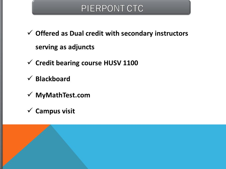 Offered as Dual credit with secondary instructors serving as adjuncts Credit bearing course HUSV 1100 Blackboard MyMathTest.com Campus visit