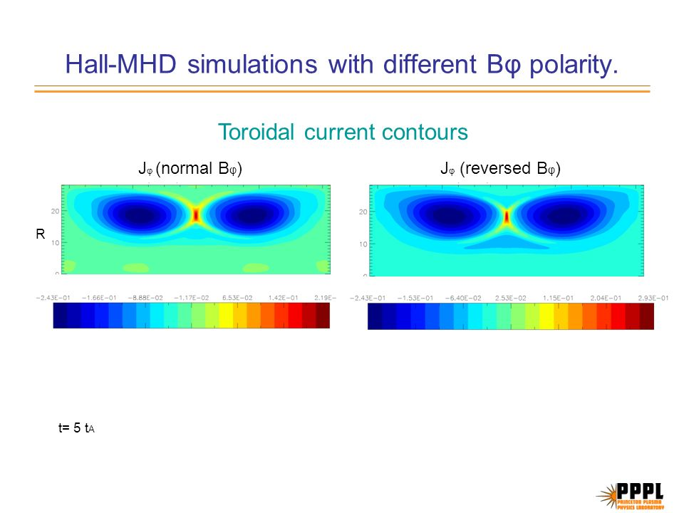 Hall-MHD simulations with different B φ polarity.