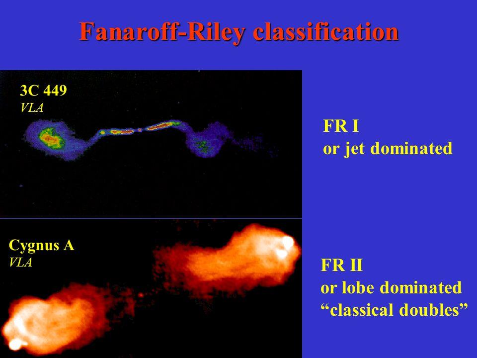 Fanaroff-Riley classification FR II or lobe dominated classical doubles FR I or jet dominated Cygnus A VLA 3C 449 VLA