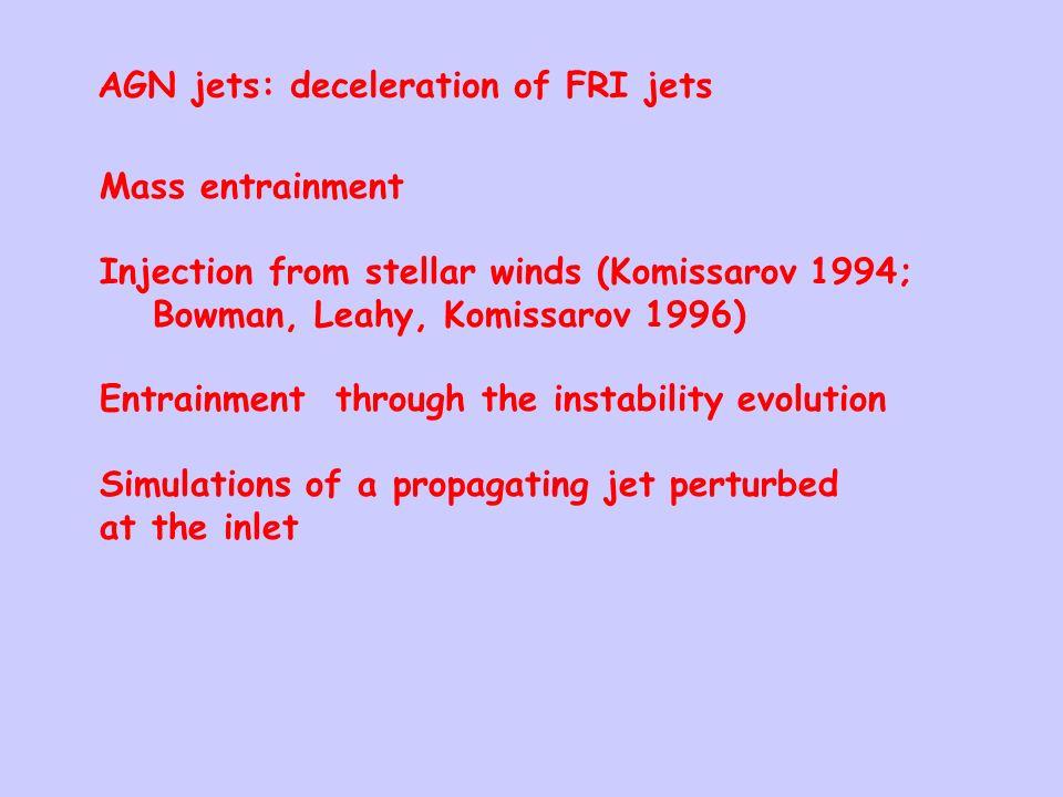 AGN jets: deceleration of FRI jets Mass entrainment Injection from stellar winds (Komissarov 1994; Bowman, Leahy, Komissarov 1996) Entrainment through