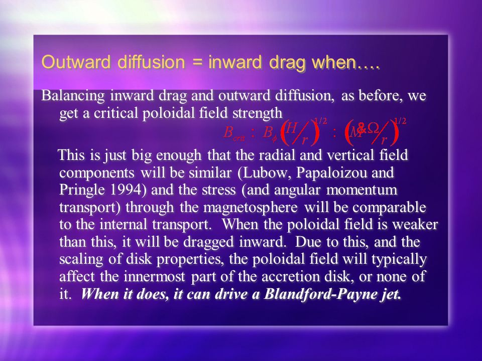 Outward diffusion = inward drag when….