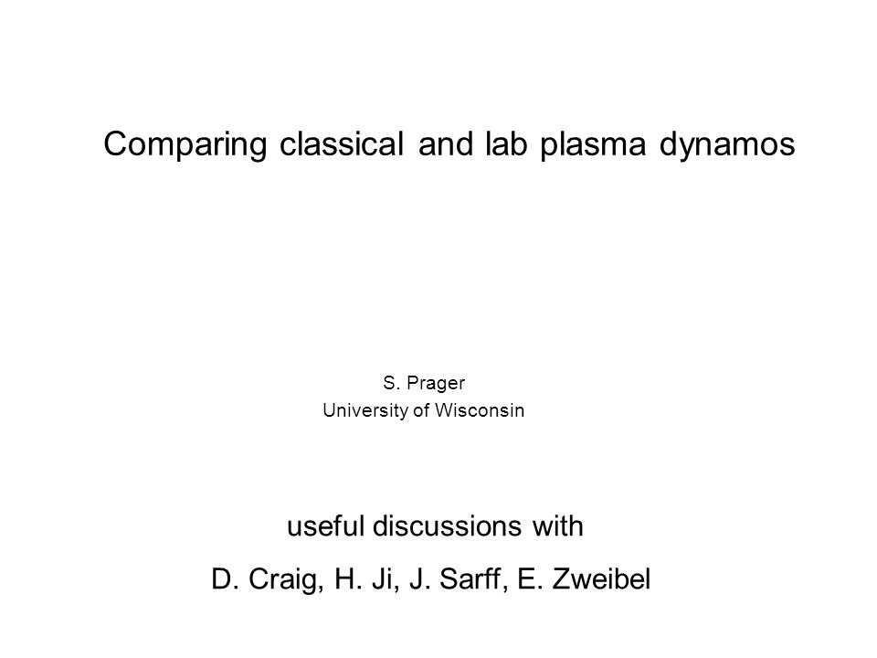 Comparing classical and lab plasma dynamos S.
