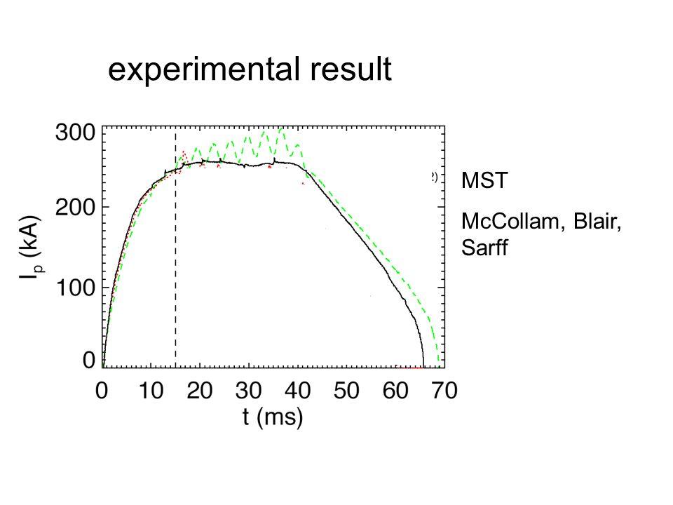 experimental result MST McCollam, Blair, Sarff