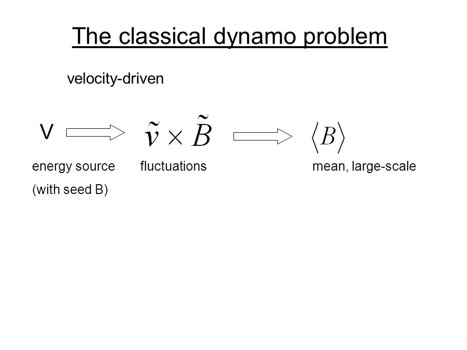 The classical dynamo problem V velocity-driven energy source fluctuationsmean, large-scale (with seed B)