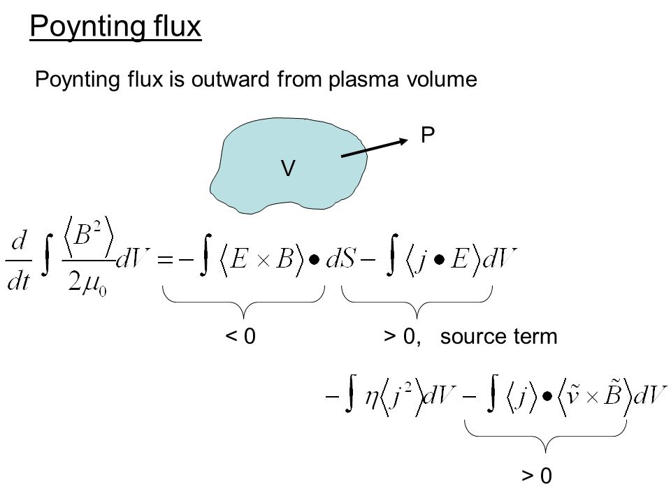 Poynting flux Poynting flux is outward from plasma volume 0, source term V P > 0
