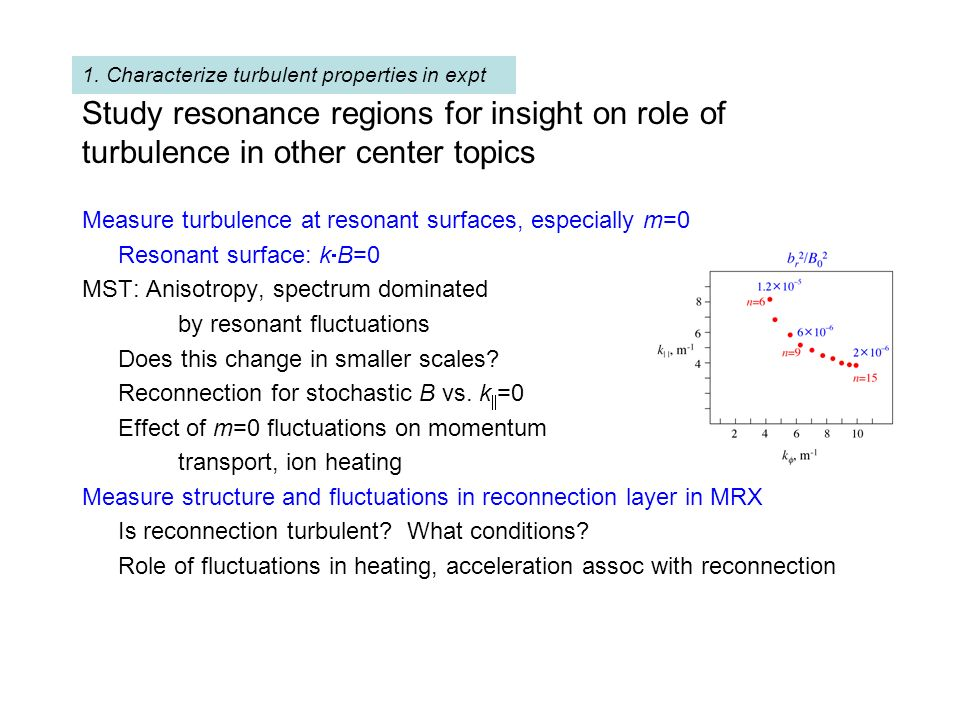 Study resonance regions for insight on role of turbulence in other center topics Measure turbulence at resonant surfaces, especially m=0 Resonant surf