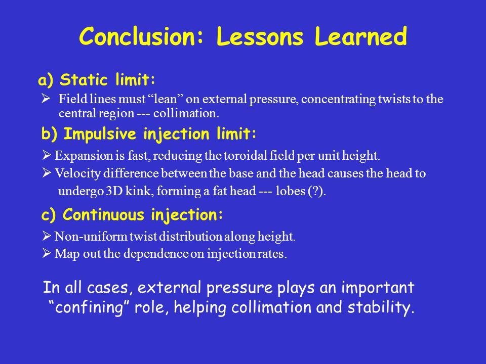 Conclusion: Lessons Learned Field lines must lean on external pressure, concentrating twists to the central region --- collimation.