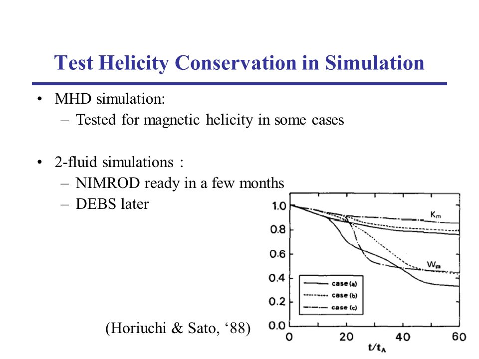 Test Helicity Conservation in Simulation (Horiuchi & Sato, 88) MHD simulation: –Tested for magnetic helicity in some cases 2-fluid simulations : –NIMROD ready in a few months –DEBS later