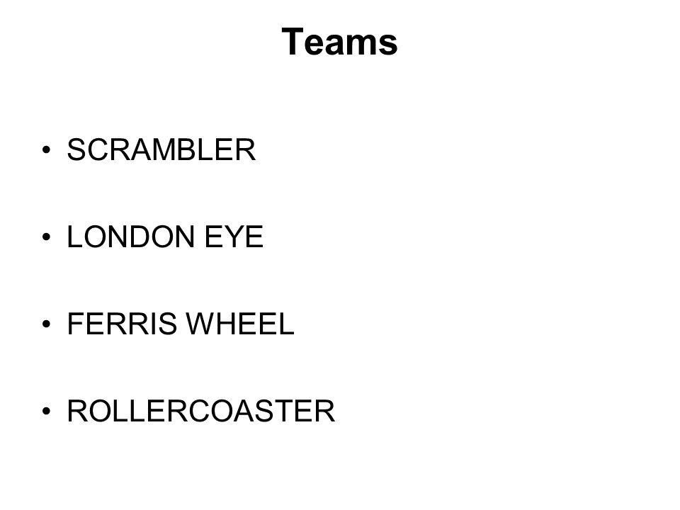 Teams SCRAMBLER LONDON EYE FERRIS WHEEL ROLLERCOASTER