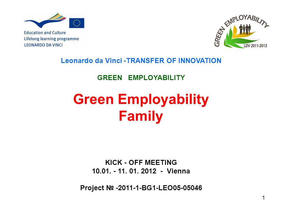 1 Leonardo da Vinci -TRANSFER OF INNOVATION GREEN EMPLOYABILITY Green Employability Family KICK - OFF MEETING 10.01.
