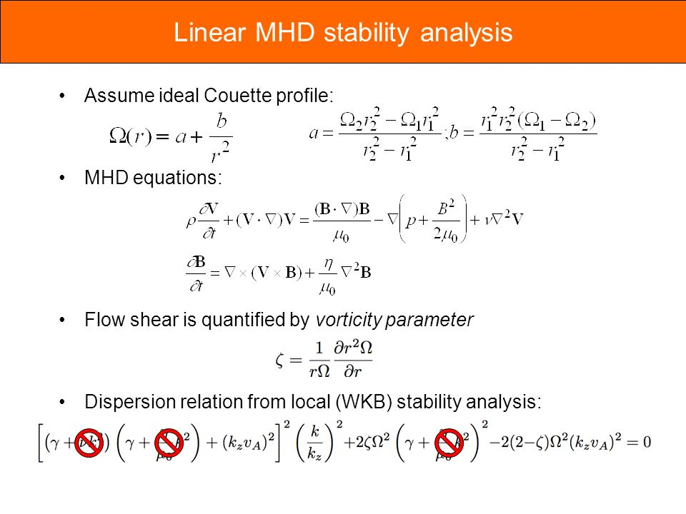 Assume ideal Couette profile: MHD equations: Flow shear is quantified by vorticity parameter Dispersion relation from local (WKB) stability analysis: Linear MHD stability analysis