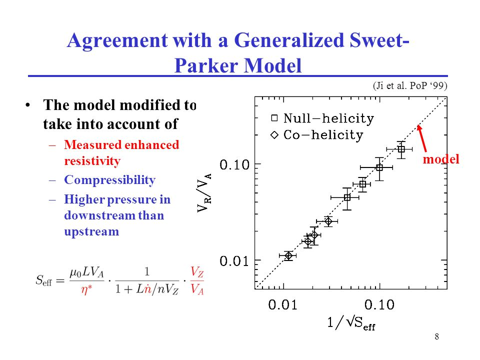 8 Agreement with a Generalized Sweet- Parker Model The model modified to take into account of –Measured enhanced resistivity –Compressibility –Higher pressure in downstream than upstream (Ji et al.