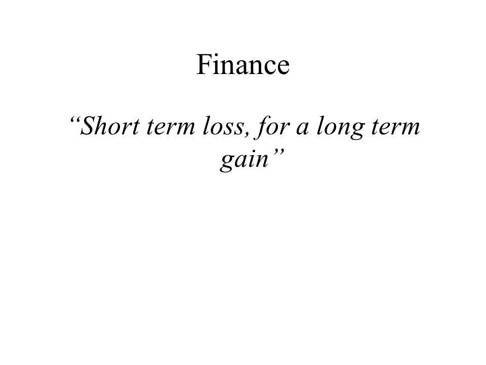 Finance Short term loss, for a long term gain