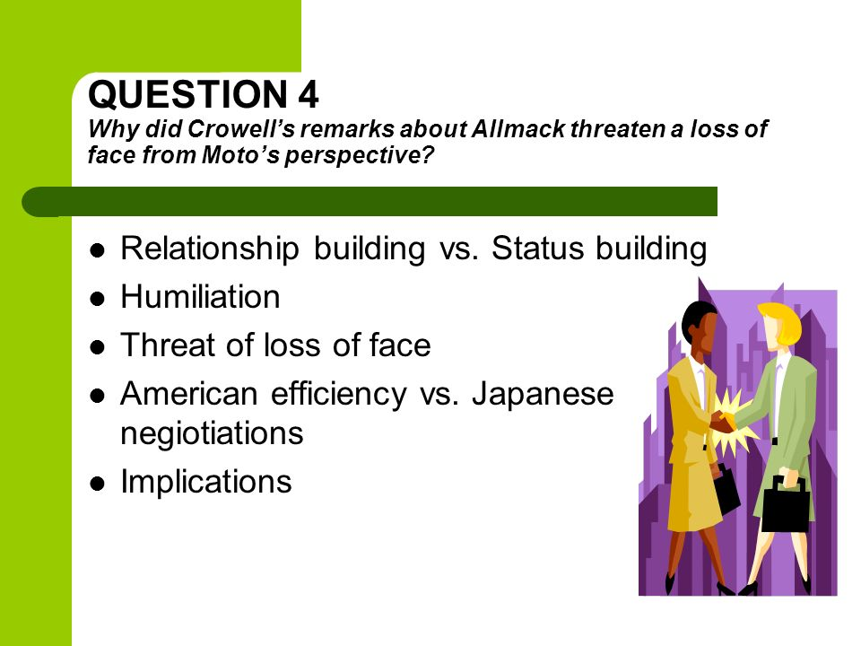 QUESTION 4 Why did Crowells remarks about Allmack threaten a loss of face from Motos perspective? Relationship building vs. Status building Humiliatio