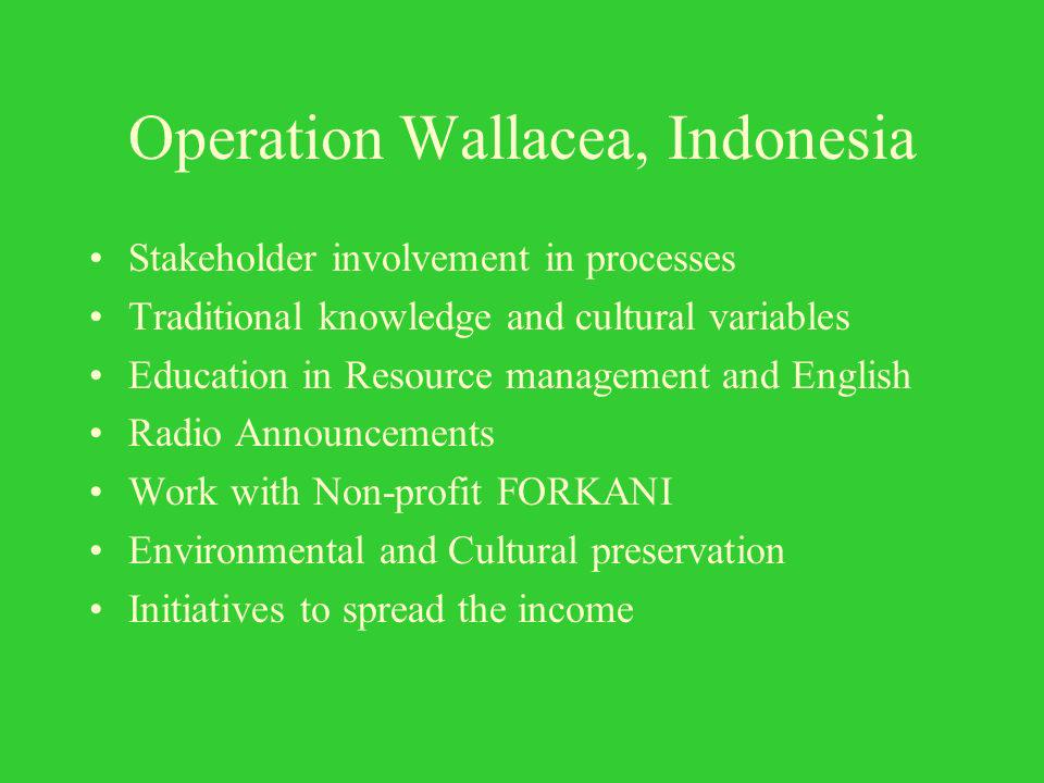 Operation Wallacea, Indonesia Stakeholder involvement in processes Traditional knowledge and cultural variables Education in Resource management and English Radio Announcements Work with Non-profit FORKANI Environmental and Cultural preservation Initiatives to spread the income
