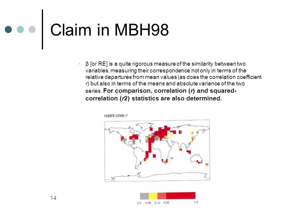 14 Claim in MBH98 β [or RE] is a quite rigorous measure of the similarity between two variables, measuring their correspondence not only in terms of t