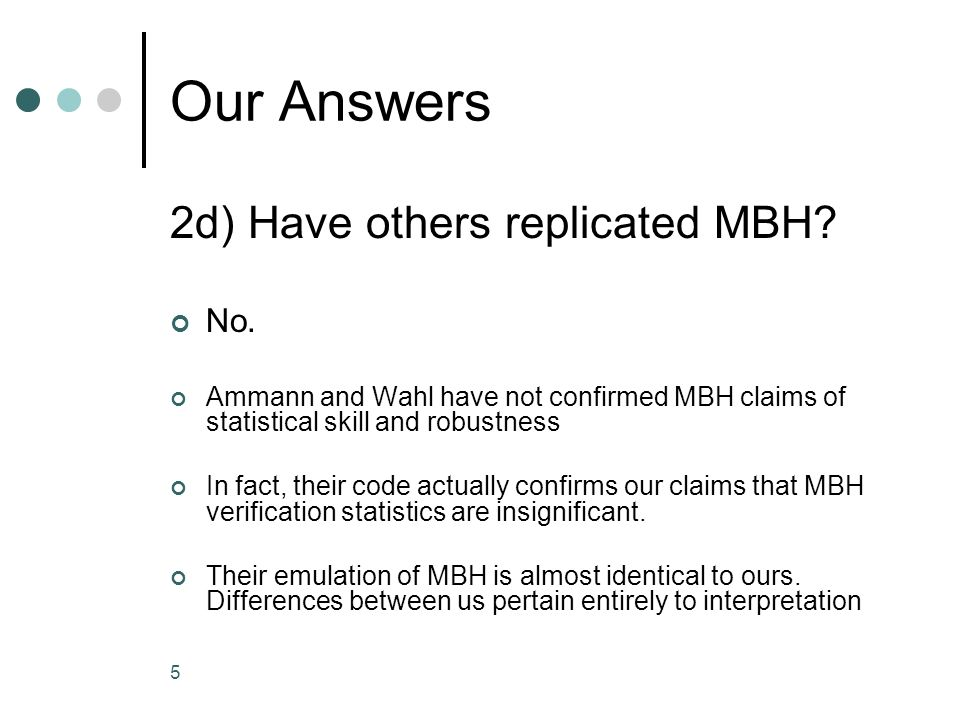 5 Our Answers 2d) Have others replicated MBH. No.
