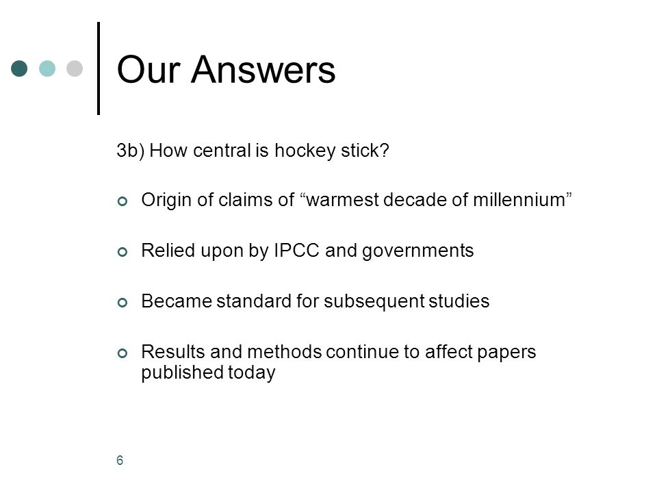 6 Our Answers 3b) How central is hockey stick? Origin of claims of warmest decade of millennium Relied upon by IPCC and governments Became standard fo